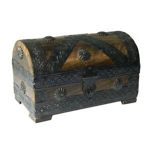 Coffret-pirate-Tresor-19x11x12cm-Bois-de-manguier-Style-Antique-Artisanat-indien