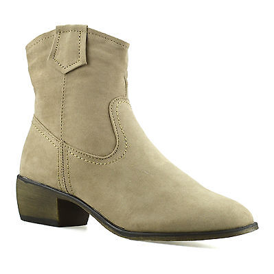 Ladies Womens Mid Block Heel Western Riding Cowboy Ankle Biker Boots Shoes Size