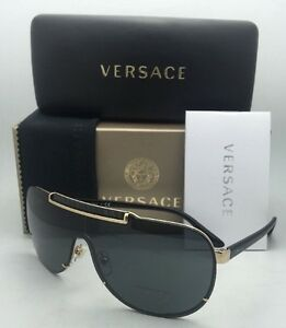 a48a93b860 New VERSACE Sunglasses VE 2140 1002 87 Gold   Black Shield Frames w ...