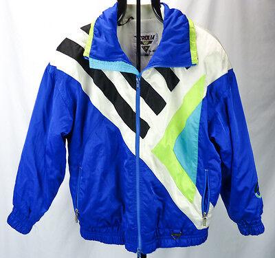 Vtg TYROLIA by Head Neon Graphics 90s Puffer Ski Coat Jacket Blue Mens 12 Small