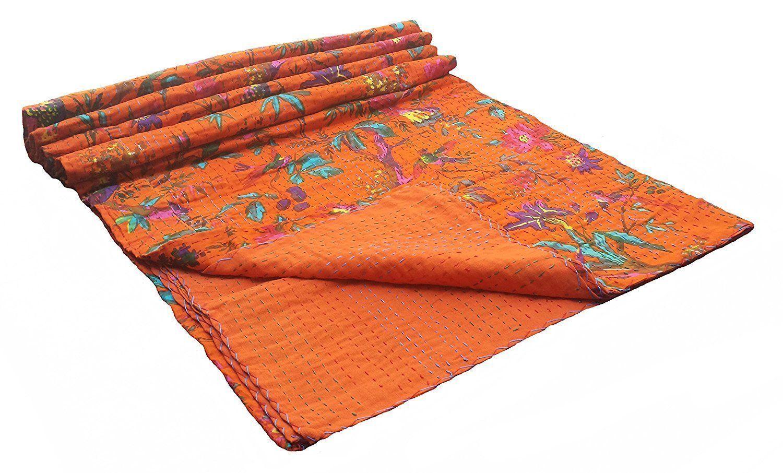 Indian Bird Print  Vintage  Kantha Quilt  Queen Handmade Christmas Bedding Throw