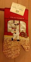 Fat Chef Printed Kitchen 13 Large Oven Mitt, Trattoria, Red Back, Red Vino