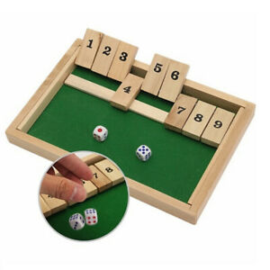 9-Number-Shut-the-Box-Board-Game-Circa-Vintage-Drinking-Pub-Dice-Wooden-Cas-kd