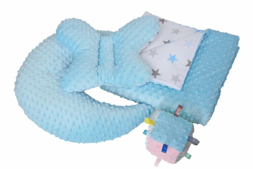 NIUXENDESIGN® 4ER Set Babydecke 100x75 Formkissen Sinneswürfel Minky Soft NEU