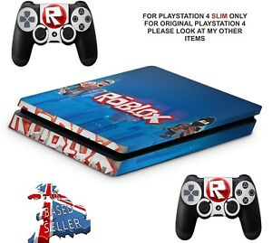 Details About Roblox Ps4 Slim Textured Vinyl Protective Skins Decals Wrap Stickers - stickers de roblox