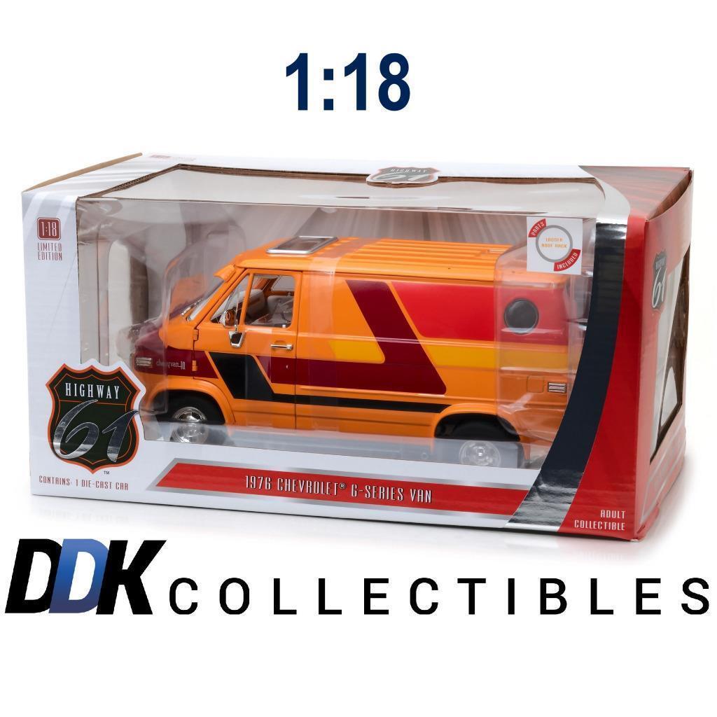 Highway 61 HWY-18012 1976  CHEVROLET G-Series Van Orange avec graphiques DIECAST 1 18  centre commercial de la mode