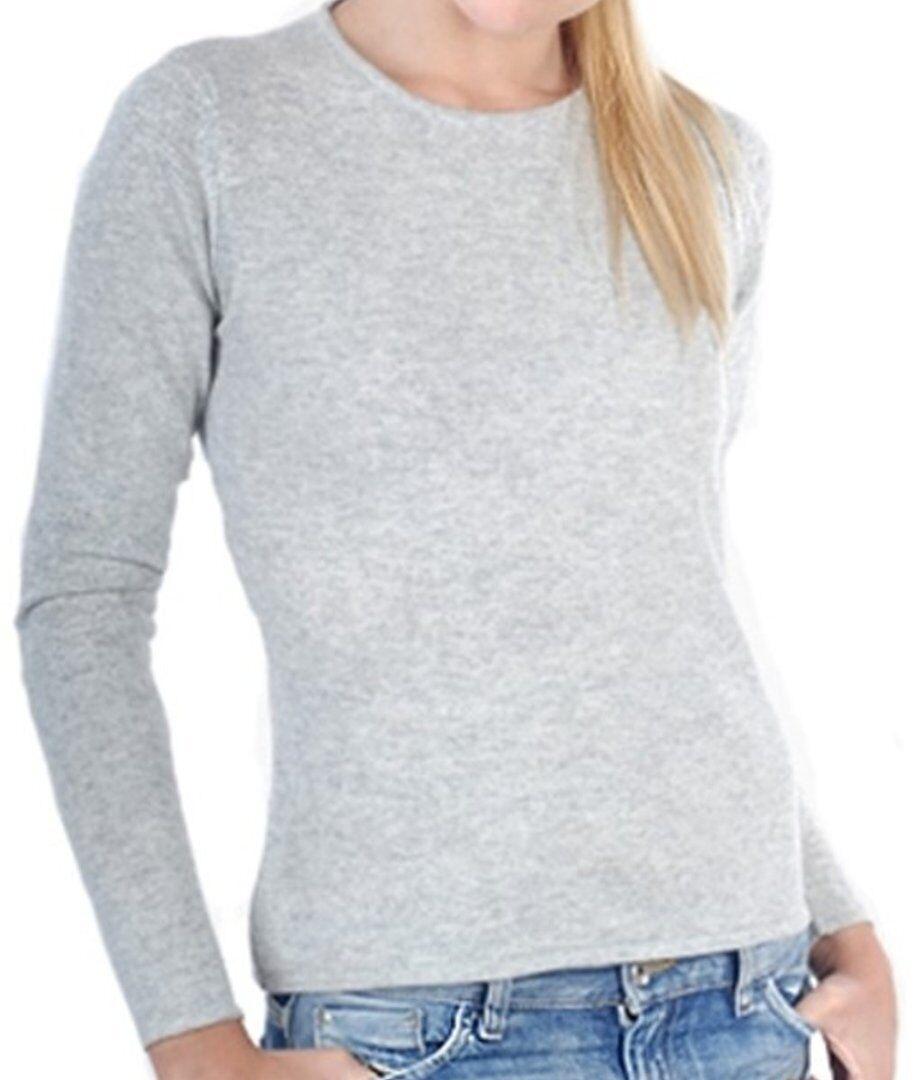 Balldiri 100% Cashmere Damen Pullover Rundhals 2-fädig hellgrau XL