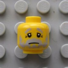 Lego Minifigure HEAD Gray Beard Sad Eyes, GRANDPA  -NEW-
