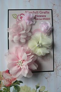 HANDMADE-5-Flower-Mix-PINK-amp-CREAM-Organza-Satin-Lace-30-70mm-NjoyfullCrafts