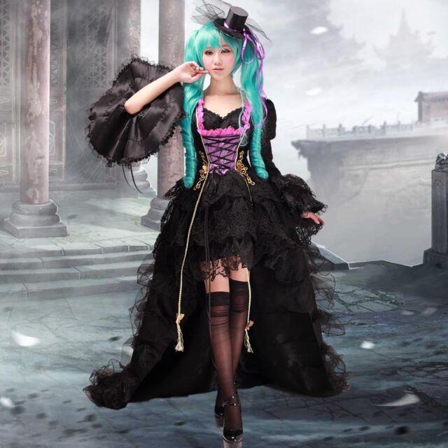 Vocaloid Miku sing dragon Cosplay Kostüm Abend-Kleid Gothic lang wig Perücke