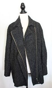 Relaxed Xl Black Fit Country Front Coat Blend Road ~ Boucle White Zip Wool 7CzwOx6q