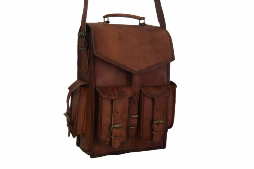"Vintage Leather Backpack Convertible Messenger 17/"" Laptop Rucksack Shoulder Bag"