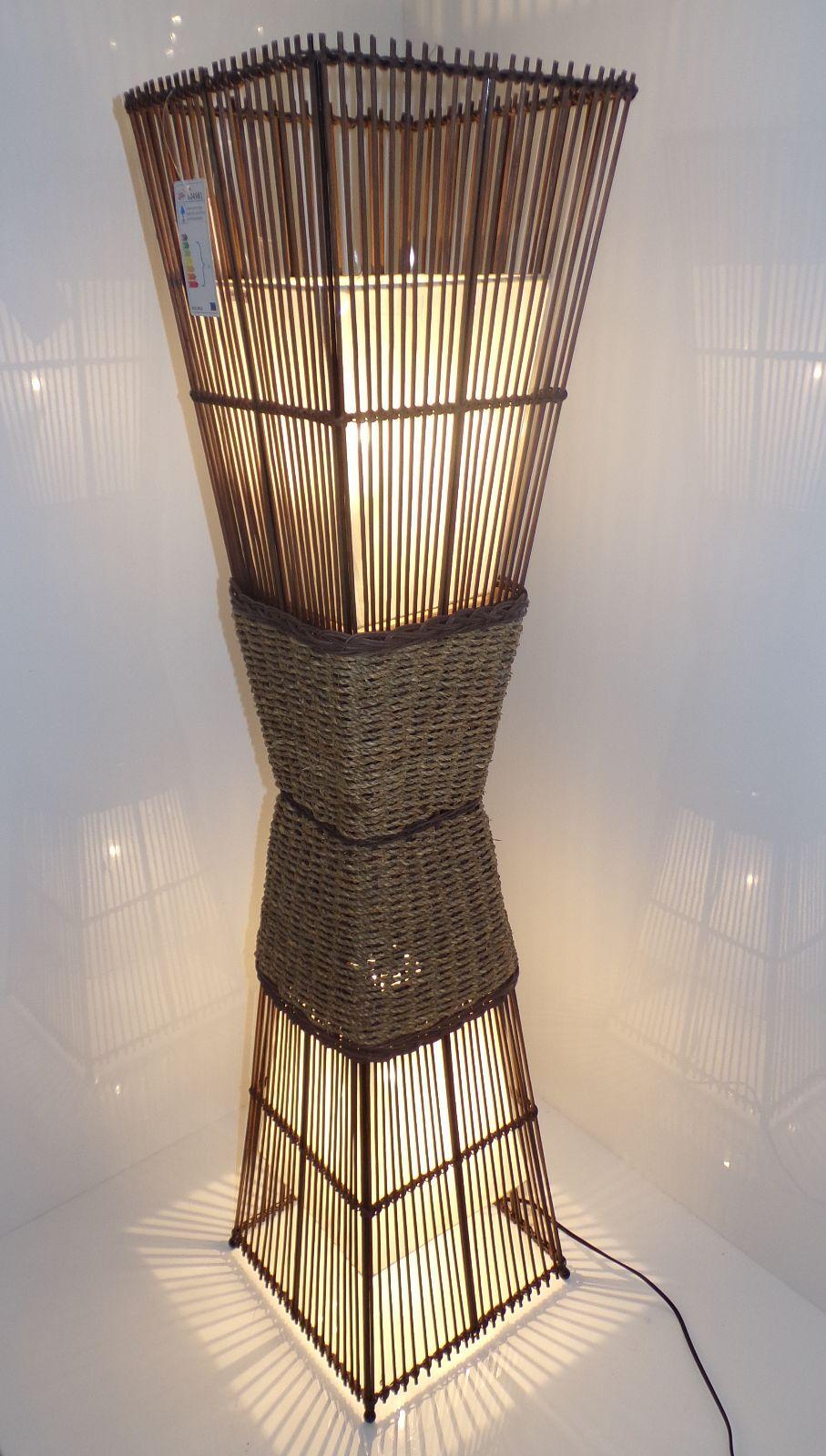 Bamboo Bambus Leuchte Lampe rattan Stehleuchte Stehlampe Stoff Orient Asatisch
