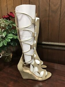 release date: most popular best authentic Details about Women's Size 9 Knee High Gladiator Wedge Sandals Lace Up Zip  Beach Long Boots