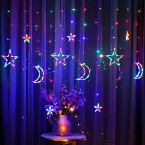 138 LED Twinkle Star Curtain Window Fairy Lights Christmas Party Wedding Plug in
