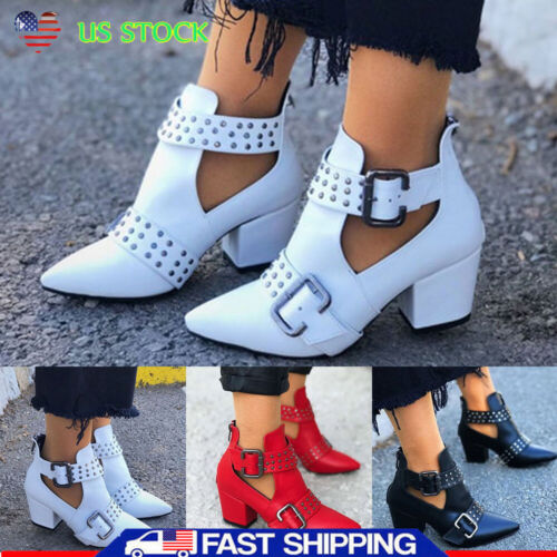 Women/'s Chunky Booties Block Heels Ankle Boots Pointed Toe Casual Party Shoes US