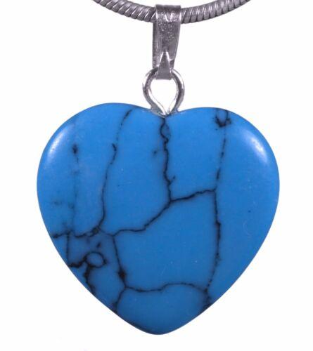 Herz Anhänger Edelstein Herzanhänger mit versilberter Öse verschiedene Varianten