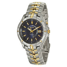 Seiko Men's SKA402 Kinetic 100M Dress S.S. Two-Tone Blue Dial Date Watch New