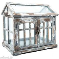 Gray, Brown & White Wood Terrarium With 2-doors Home Decor Shabby Chic No Tax