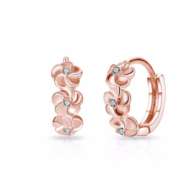 2025532fd9a Rose Gold Flower Hoop Earrings With Crystals From Swarovski for sale ...