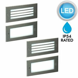 Pair-of-Modern-Outdoor-Stainless-Steel-Garden-Recessed-Wall-LED-Brick-Light-IP54