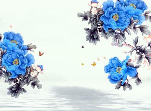 3D Blue Peony Flower 8 Wall Paper Murals Wall Print Wall Wallpaper Mural AU Kyra