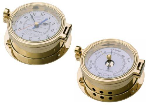 TIDE and TIME CLOCK plus BAROMETER ROYAL MARINER C622LT//C622LR 140mm BRASS SET