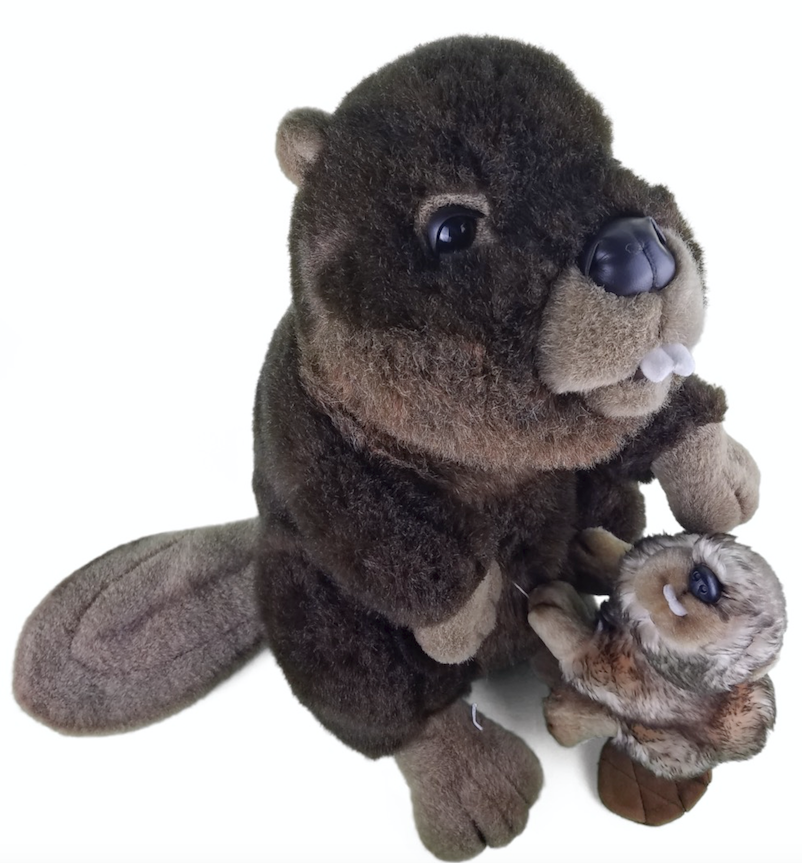 Fine Toy Company Plush Beaver & Baby Realistic 20  marróne Stuffed Animal Toy EXC