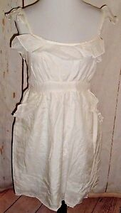 55e93314df Aryeh Dress Sz L Silk Cotton Cream Off White Ruffle Baby Doll Boho ...