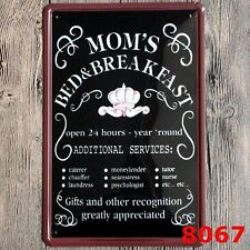 Metal Tin Sign Mom's Bed and Breakfast Hang Poster Plaque Hotel Bar Pub Wall Art