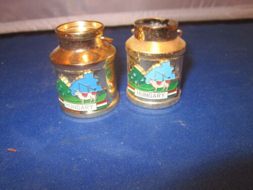 2 MILK CANS THAT SAY HUNGARY Vintage Brass Miniatures Shadow Box or Doll House