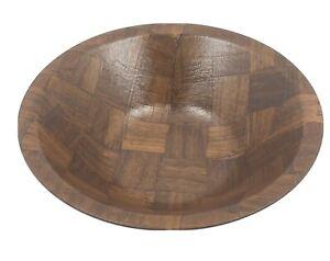 """Weavewood Inc 12"""" Inlaid Wood Serving Salad Bowl Mid Century Vintage HG9"""
