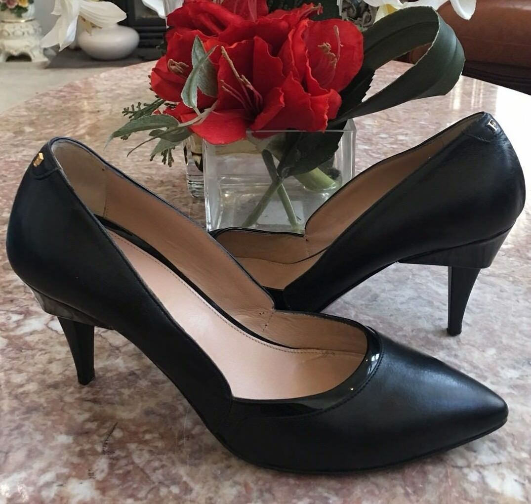 FURLA Black Leather Heel Pumps US 8M  38 Made in  EUC, Retail  365