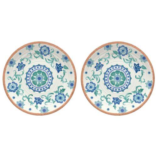 Epicurean Rio Turquoise Floral Design Mélamine//Plastique Petites Assiettes Set Pour 2