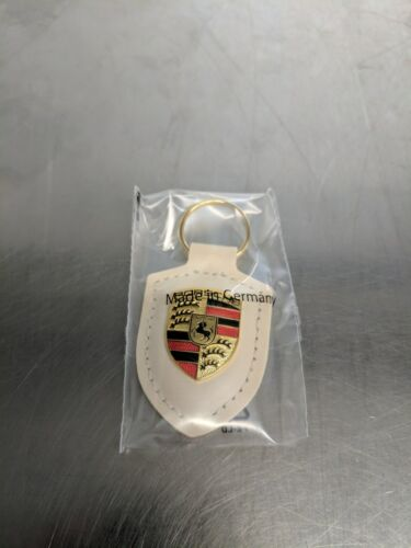 OEM Genuine Porsche White Crest Leather Key Ring WAP0500960E