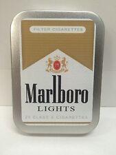 Marlboro Lights Retro Advertising Brand Cigarette Tobacco Storage 2oz Hinged Tin