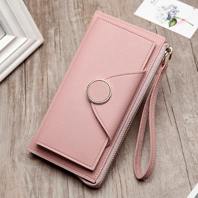 Ladies Fashion Leather Purse Long Wallet Clutch Double Zipped Coin DS