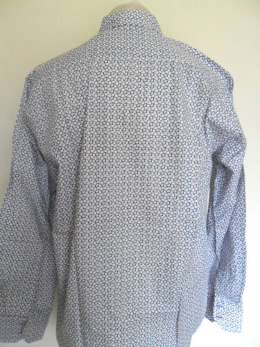 LAMBRETTA Long Sleeve Mens Shirt White Sizes S M L XL Mod Geometric Print