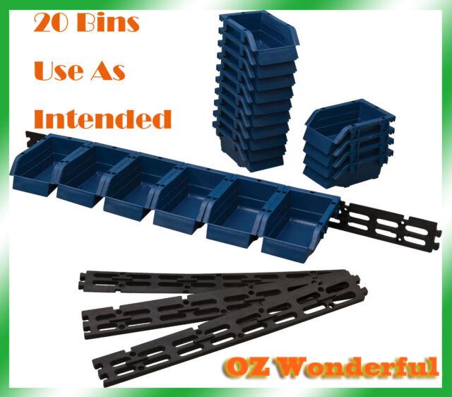 20 Bin Wall Mount Storage Bins Rack Organize nuts bolts small parts