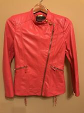Roberto Cavalli Orange Leather Jacket. Made in Italy.  Size EU 40