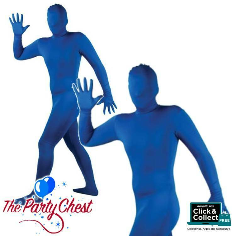 ADULT BLUE SKINZ COSTUME Lycra Bodysuit Smurf Stag Night Fancy Dress Outfit 8801