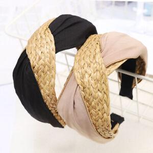 Women-Natural-Raffia-Straw-Headband-Twist-Knot-Wide-Headwear-Hair-Band-Access-DP