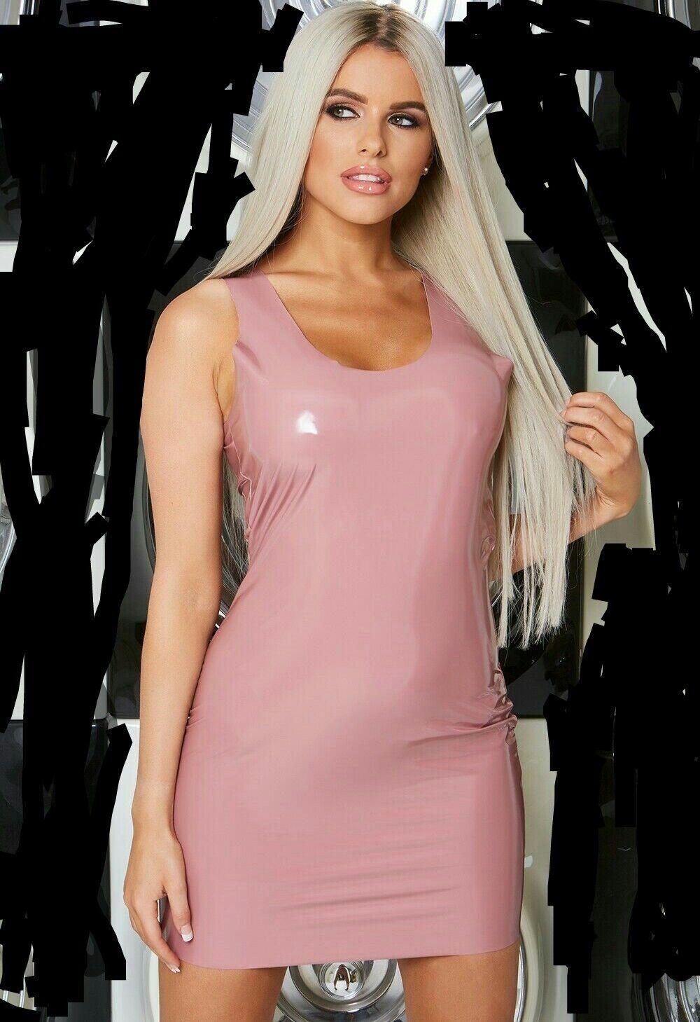 BNWT 8 10 PINK HIGH SHINE VINYL PVC PU WET LOOK WETLOOK BODYCON DRESS