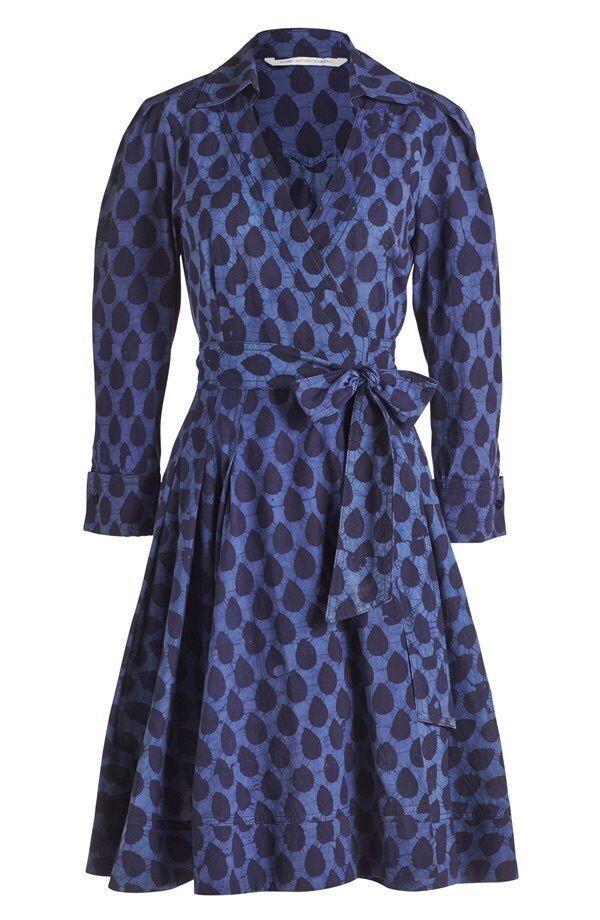 Size 6 Diane von Furstenberg 'Jadrian' Piece Batik blueee Cotton Wrap Dress NWT