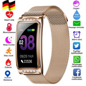 Damen Smartwatch Armband Herzfrequenz Pulsuhr Blutdruck Sportuhr Fitness Tracker