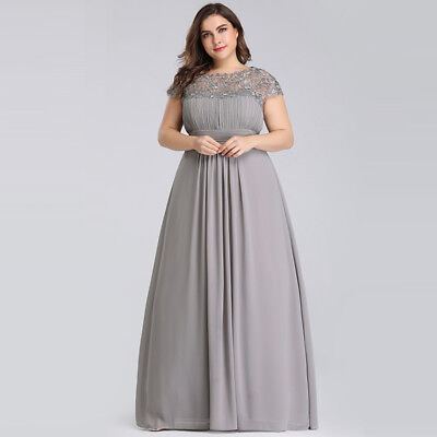 Ever-Pretty US Grey Long Lace Evening Dress Backless Bridesmaid Dress Plus  Size | eBay