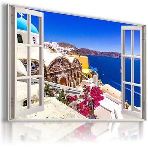 GREECE-SANTORINI-3D-Window-View-Canvas-Wall-Art-Picture-Large-SIZE-W426-MATAGA