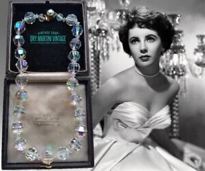 VINTAGE ART DECO AUSTRIAN CRYSTAL AURORA BOREALIS CLEAR CHUNKY NECKLACE BRIDAL
