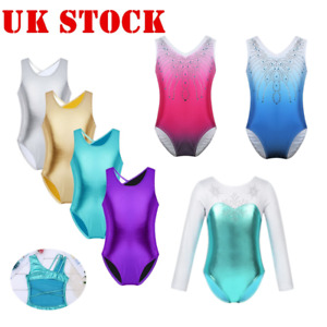 UK-Kid-Girl-Ballet-Leotard-Shiny-Ballerina-Dancewear-Gymnastics-Jumpsuit-Catsuit