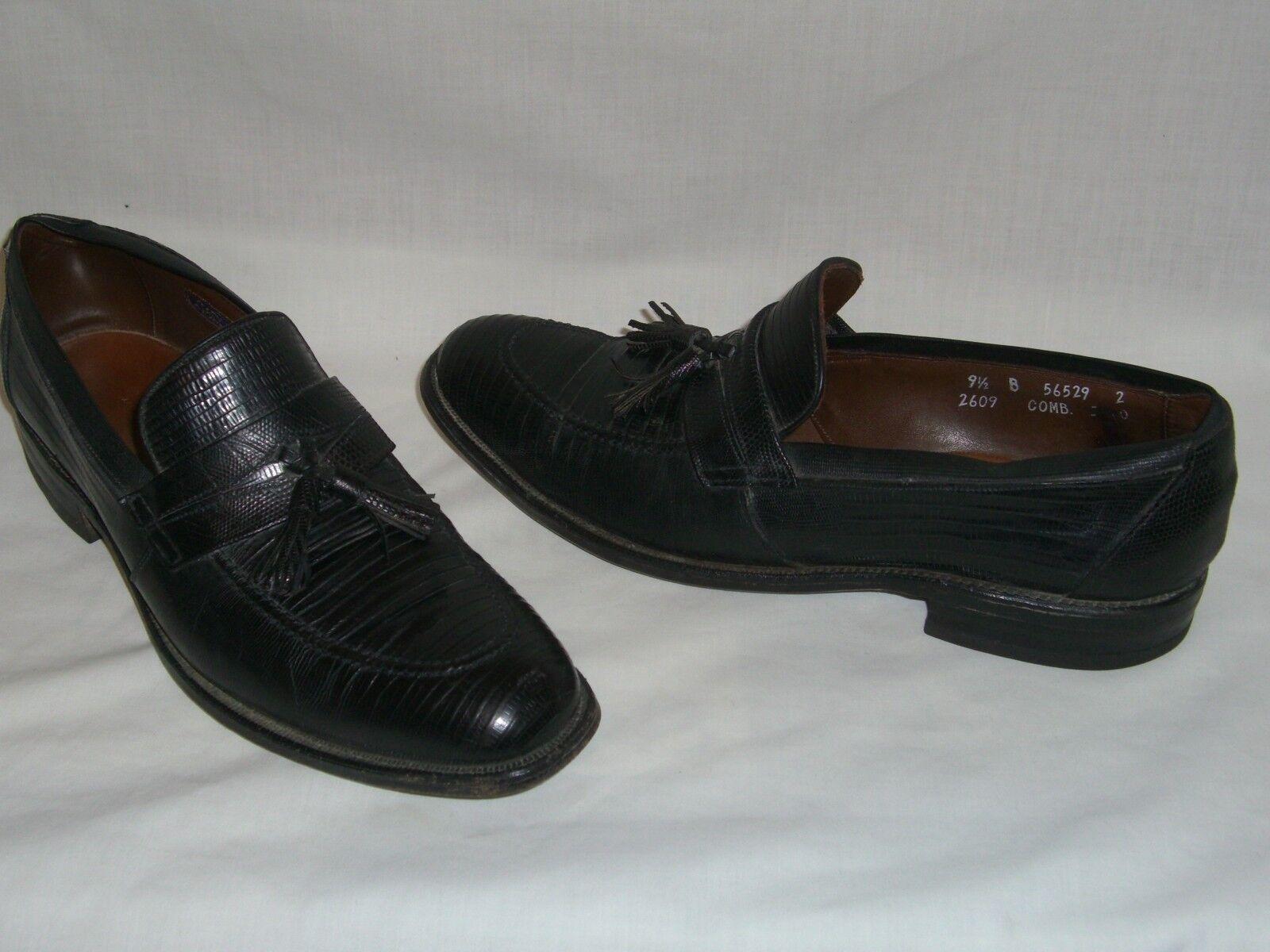 ALLEN EDMONDS Black Exotic Lizard Skin Leather Tassel Loafers Men's 9.5 B - EUC